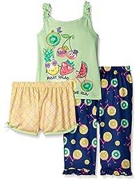 Komar Kids Girls ' 3 Piece Sleepwear SetフルーツサラダShort Set with Print Pant