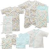 西松屋 [EFD] 新生児肌着10点セット(花・乗り物・ハチ柄) 【新生児50-60cm】 ブルー