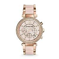 Michael Kors Women's Parker Chronograph Blush Pink, Rose Gold 39mm Crystal Bezel Dial Stainless Steel Watch MK5896