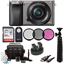 Sony Alpha a6000 Camera w/ 16-50mm Lens and 64GB SD Card Bundle - Graphite