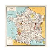 Bourguignon 1932 Map France Gastronomy Food Large Wall Art Poster Print Thick Paper 24X24 Inch 地図フランスフード壁ポスター印刷
