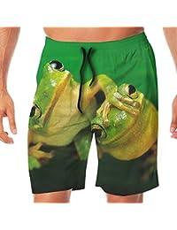 メンズ水着 ビーチショーツ ショートパンツ キュート カエル スイムショーツ サーフトランクス 速乾 水陸両用 調節可能