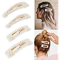 Pearls Hair Clips, Decorative Wedding Bridal Artificial Pearl Hair Pins, Hair Barrettes Styling Tools Hair Accessories for Women Ladies Girls 4 PCS Children's Day Gifts for Daughter