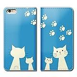 Tiara iPhone7 (4.7) iPhone7 スマホケース 手帳型 ベルトなし 猫 にゃんこ ネコ ねこ 肉球 手帳ケース カバー バンドなし マグネット式 バンドレス [EB21302_04]