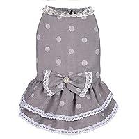 ShiSyan 子犬スカート子猫スカートペット服春夏コットン水玉スカート犬服ペット服かわいいです (Color : Gray, Size : 14/L)