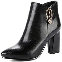 IDIFU Women's Fashion Pointed Toe High Chunky Heels Side Zipper Short Martin Ankle Boots