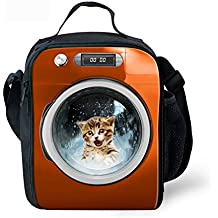 FOR U DESIGNS Lovely Cat Picture Lunch Pouch Food Bags With Shoulder Strap For Teens-Orange