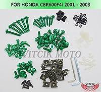 VITCIK ホンダ Honda CBR600F4i 2001 2002 2003 CBR 600 F4i 01 02 03 オートバイ用フルフェアリングボルトネジキット ファスナー CNC アルミクリップ (グリーン)