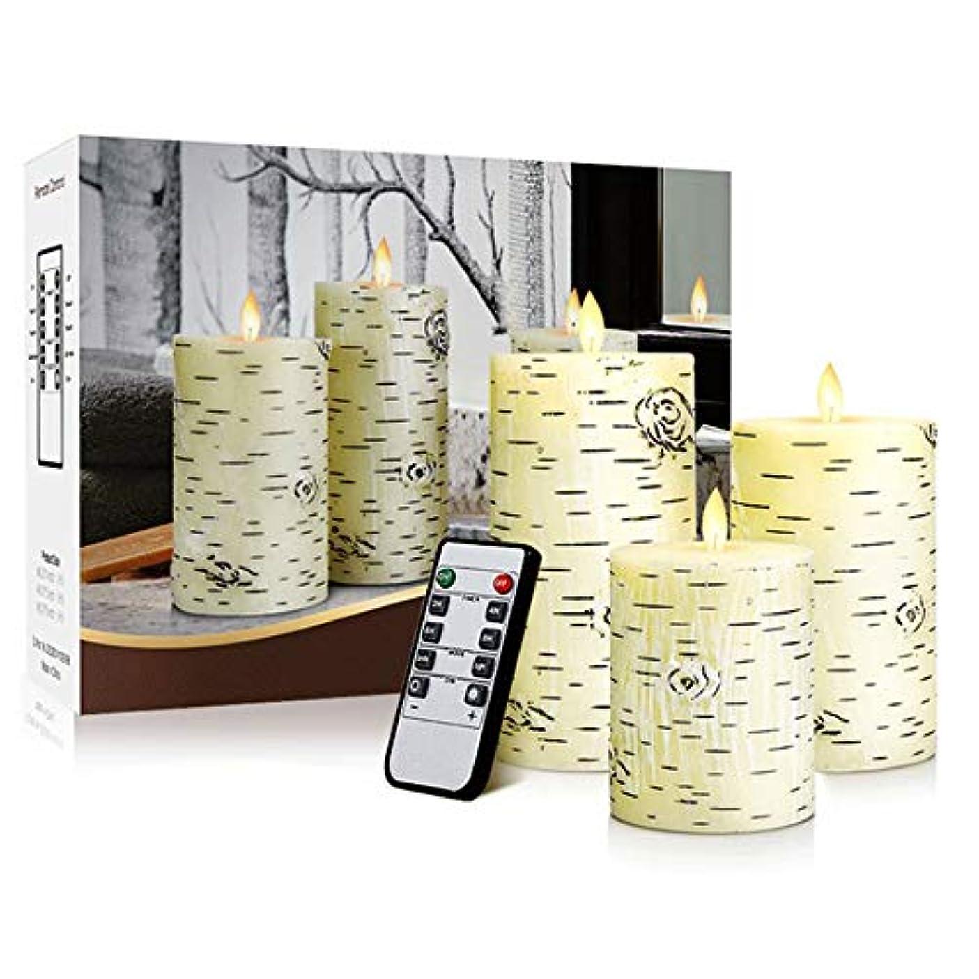 調子画像直接導かれた電子蝋燭のリモート?コントロール3部分が付いている平らな口のシラカバの木の蝋燭