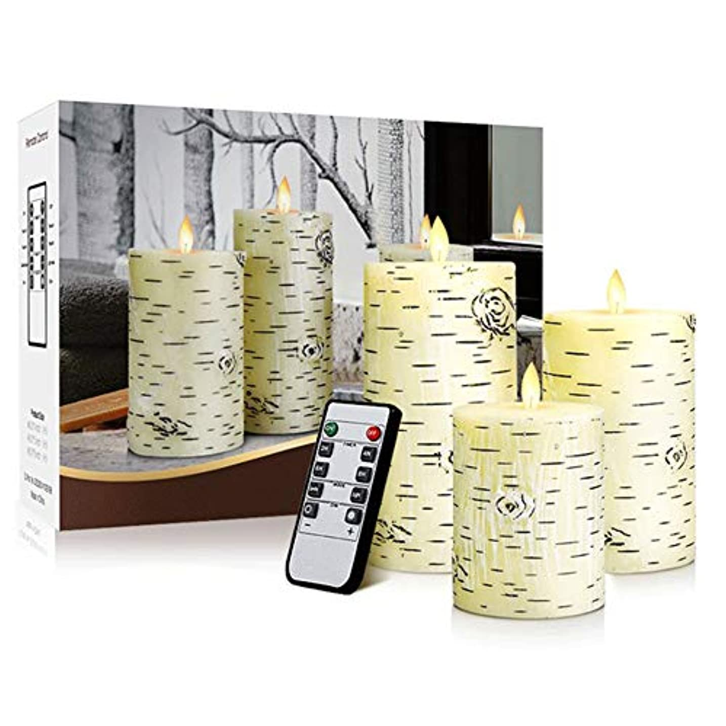 宣伝地中海ひねくれた導かれた電子蝋燭のリモート?コントロール3部分が付いている平らな口のシラカバの木の蝋燭