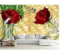 3D壁紙壁画ウォールステッカーローズフラワー甘い中国テレビの背景壁写真壁紙3D