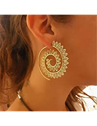 Zranda+ Swirl Gear Earrings Personalized Circle Spiral Ear Ornaments