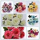 ブーケ造花秋鮮やかな牡丹偽の葉結婚式のホームパーティーの装飾(ピンク)