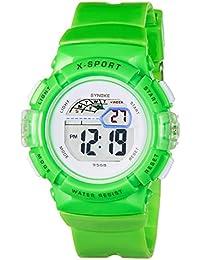 synoke 腕時計 男の子 キッズ デジタル腕時計 小学生 入学祝い ギフト 防水 多機能 スポーツ用 緑色