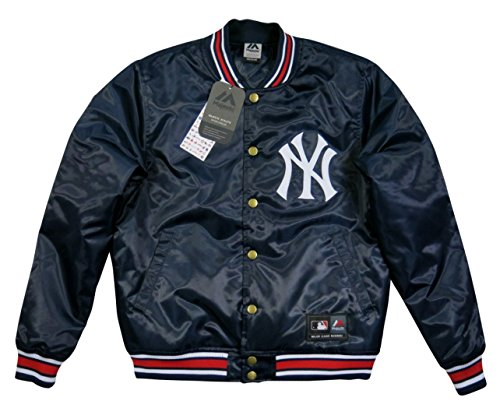 (マジェスティック)MAJESTIC MLB ニューヨーク ヤンキース サテン スタジャン L NAVY(ネイビー)