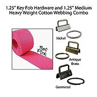 """1.25""""キーFobハードウェアと1.25"""" Cotton Webbingコンボ–ホットピンク 10 Yards/25 Key Fobs WEBCOMBO125-HTPK10-G"""