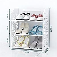 LJHA シンプルウッディ彫刻靴ラック/クリエイティブ多層大容量ストレージラック/フロアリング分解靴ラック/白玄関靴箱 保管棚 (サイズ さいず : A)