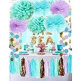 海底のマーメイドパーティーデコレーション パープルブルーミント ベビーシャワーデコレーション ティッシュポンポン ファーストバースデーデコレーション パープルブライダルシャワーデコレーション マーメイドパーティー用品