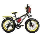 Cyrusher RT-015 FATBIKEファットバイク電動バイク20 インチ 自転車 シマノ製 7段 変速ギア付き ディスクブレーキ4色 極太タイヤ BMX マウンテン バイク クロスバイク 350w 36v 大容量の10.4Ahリチウムバッテリー (イエロー)