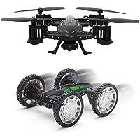 DNYCF ドローン 空陸両用 drone ラジコンカー カメラ付 小型 720P wifi 2.4Ghz 空撮 360°宙返り バッテリー2個付き