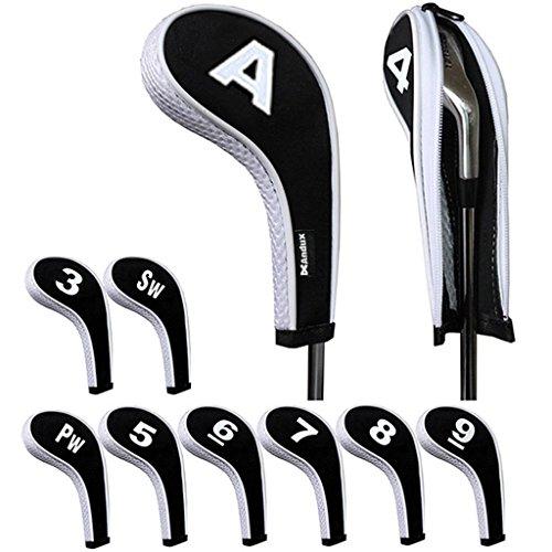 Andux 番手プリント ゴルフ アイアンカバー ファスナー付き ロングネック 10個/セット ホワイト/ブラック