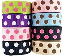HipGirl 40 Yards (8x5yd) 5/8 Polka Dot Grosgrain Ribbon--Colors May Vary--a029 by HipGirl