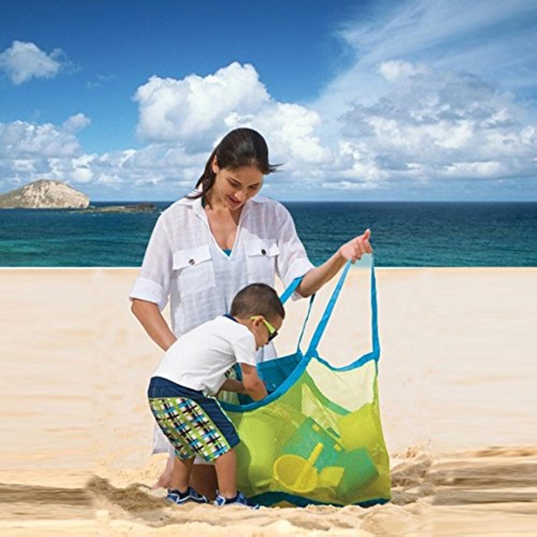 MXIKU 3PCS /セットメッシュビーチバッグトート、ビーチ用メッシュバッグトートオーガナイザーおもちゃ収納Foldable Bag(Small + Medium + Large) (Color : レッド)