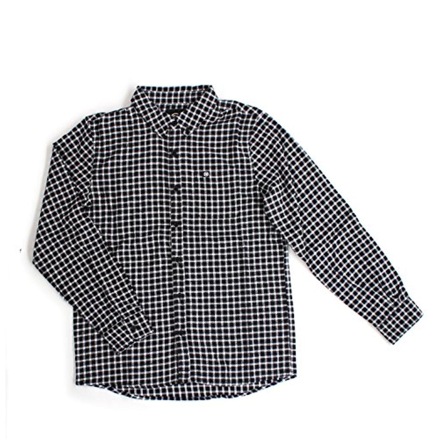 腐敗解く放射能56design(56デザイン) 56DESIGN LONG SLEEVE NEL SHIRT ネルシャツ ボタンダウンシャツ ブラック×ホワイト Lサイズ