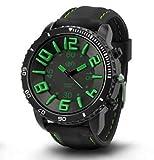 [ACI-NDG] 選べる 7 色 メンズ レディース 3D 立体 ビッグフェイス 腕時計 アナログ 表示 シンプル デザイン ラバー バンド スポーツ アウトドア カジュアル LEGO タイプ ウォッチ 男性 女性 腕 時計 【 BOX 時計 拭き付 】 (ブラック&グリーン)
