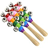 YeahiBaby 3PCS Hand Jingle Bells Toy Baby Kids Children Musical Instrument with Wood Handle