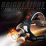 ヘッドランプ 超強力 釣り用 LEDヘッドライト充電式18650電池付 6000ルーメン照明度 4つ点灯モード 防水夜間海釣り/キャンプ/工事現場作業等アウトドア活動に適用 画像