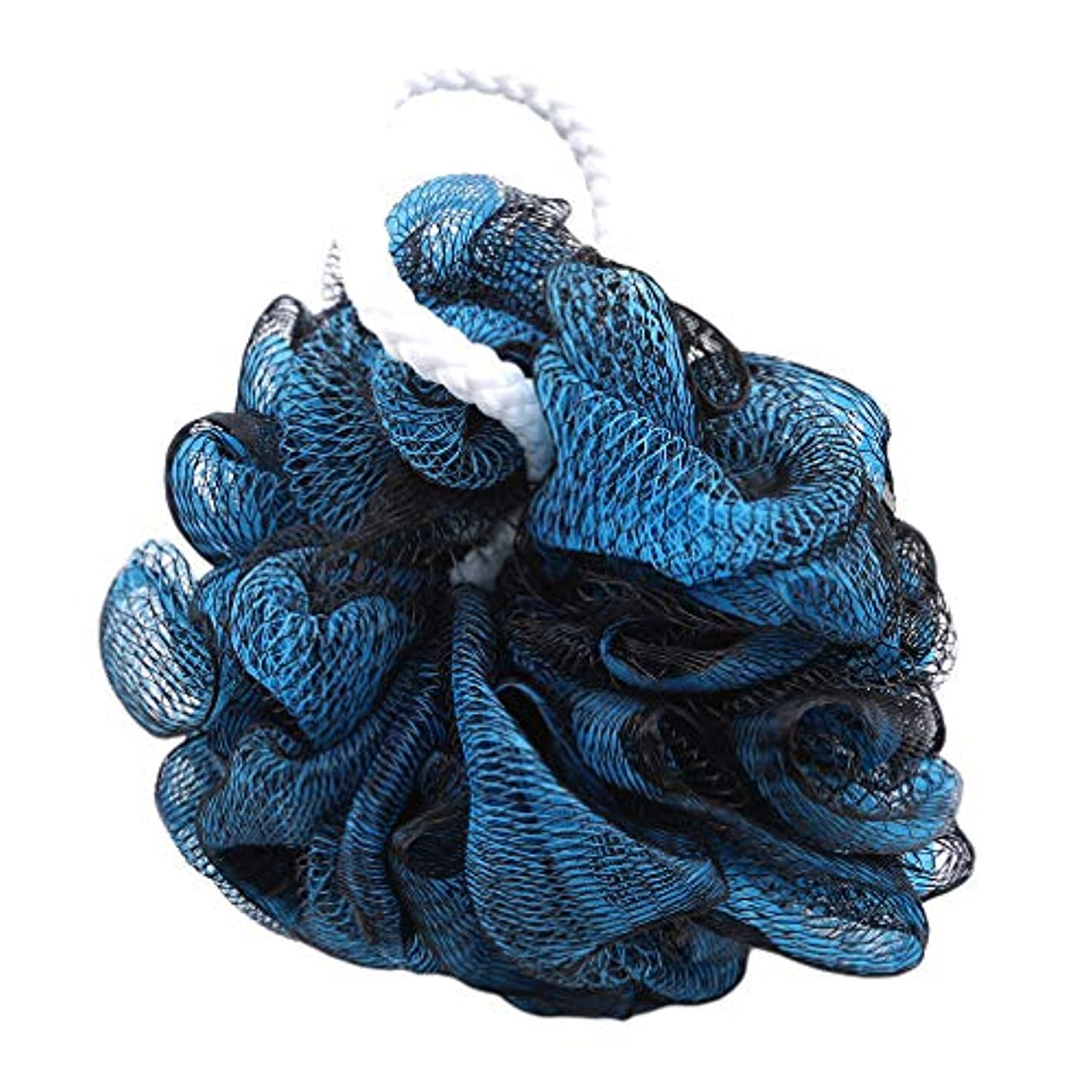 セグメントフェリー体操選手火の色 ボディウォッシュボール ボディ用お風呂ボール 花形 泡立てネット 超柔軟 ベージュ ふわわん シャワー用 上品 黒藍