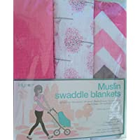 Lollypop Muslin Swaddle Blankets -Pink (Solid Pink/Pink, White and Tan Contemporary Patterns by Lollypop