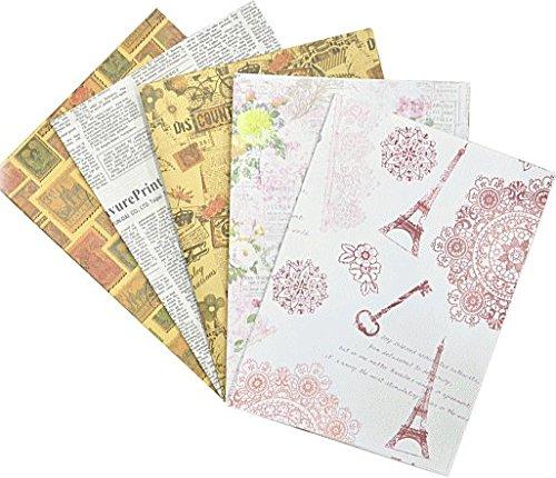 包装紙5種類セット フレンチアンティークなデザイン 英字新聞 ラッピングペーパー・ケマージュ・デコパージ...