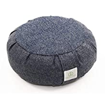 Green Eos Zafu Vipassana Meditation Cushion Buckwheat - Round - Heather Blue