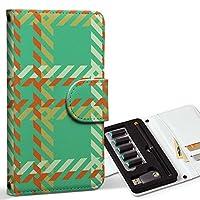 スマコレ ploom TECH プルームテック 専用 レザーケース 手帳型 タバコ ケース カバー 合皮 ケース カバー 収納 プルームケース デザイン 革 チェック・ボーダー チェック 緑 オレンジ 003924