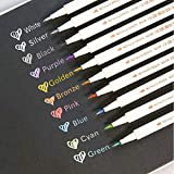 10pcs Vibrant Metallic Marker Pens, Colorful Marker Pens, 10 Colors Tipe Metallic Permanent Marker Pens for Rocks, Glasses, A