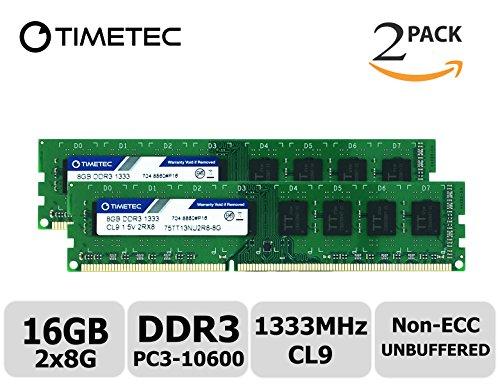 Timetec Hynix IC 16 GB キット (2x8GB) デスクトップPC用メモリ DDR3 1333 MHz PC3 10600 240 Pin UDIMM 永久保証 (16 GB キット (2x8GB))
