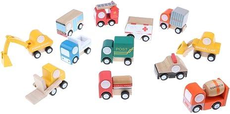 Perfk バス 貨物 スクールバス 消防車 救急車など 子ども 木のおもちゃ 車モデル おもちゃ 認知おもちゃ