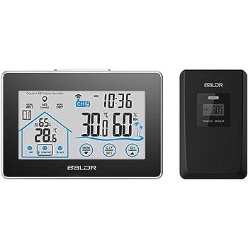 BALDR WS0317BL2 ワイヤレス 温度計 湿度計 タッチボタン 室内室外 デジタル 時計 バックライト 置き時計 掛け時計 天気予報計 気象計 最高最低温湿度表示 無線送信機付き (一個メイン装置&ワイヤレスセンサ)