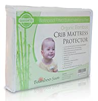 New, Improved and High Quality Organic Bamboo Crib Mattress Protector - Waterproof Fitted Quilted Mattress Pad (White) [並行輸入品]
