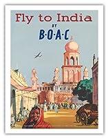 BOACによってインドに飛びます - 英国海外航空株式会社 - ビンテージな航空会社のポスター c.1955 - アートポスター - 51cm x 66cm