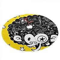 動物アフロモンキーマウス黄色かわいいクリスマス人工ツリースカートカーペットマットラグ保護カバーテーマラウンドパッドクラシッククリスマスデコレーションオーナメント(48インチ)