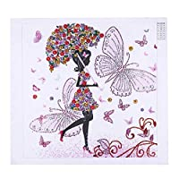 Huihuart DIY特別な形のダイヤモンド塗装5Dダイヤモンド刺繍クロスステッチ部分ドリルキット女の子の花ラインストーンシリアルモザイク-30x40cm