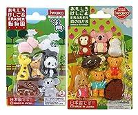 Iwako Japanese Erasers / Zoo Animals Cute Animals Safari Animals / Total 18 animals & 3 Parts Erasers Value Set(With Our Shop Original Product Description) [並行輸入品]