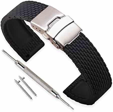 4187364713 時計 ベルト 交換ベルト ラバー 腕時計ストラップ 防水 - 18, 20, 22, 24mm シリコーンゴム 時計 の ベルト 時計バンド  イージークリック ステンレススチール ダブル ...