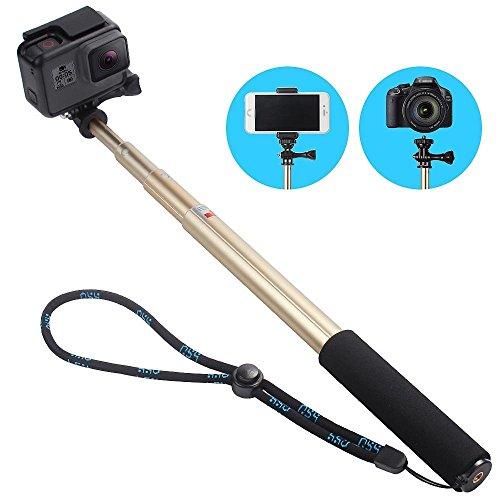 一脚自撮り棒-軽量 伸縮自在セルカ アクションカメラGoPro hero6対応スティック 多機能 調整可能