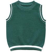 CUNYI Boys' Cotton Crewneck Knit Sweater Vest Uniform Sleeveless Pullover