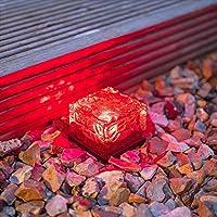 FidgetFidget アウトドア LED ソーラー アイスロック クリスタルガラス キューブ 風景ライト パスポスト レッド hutianUSW-POOJA-813-DBDC3C304B