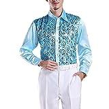 (オーセンティック) AUTHENTIC メンズ ダンス服 トップス シャツ スパンコール エレガント モダン ラテン 社交ダンス (L, ブルー)